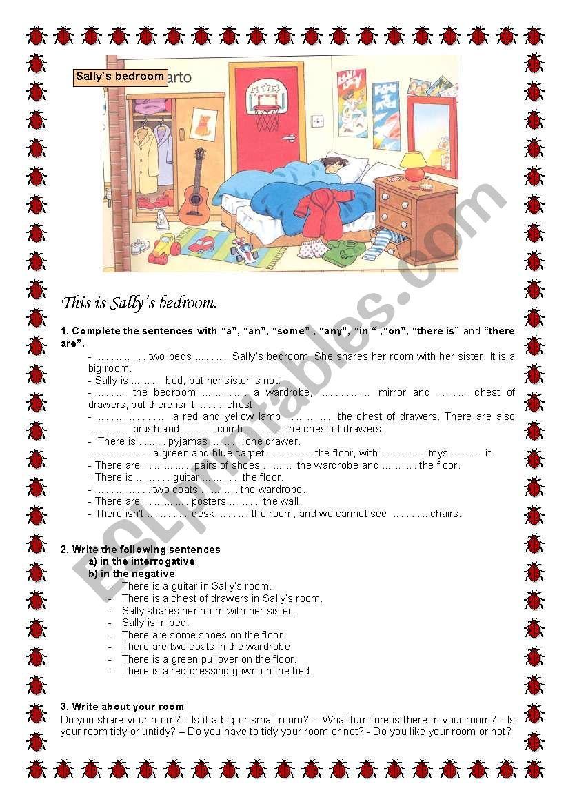 Sally´s Bedroom worksheet