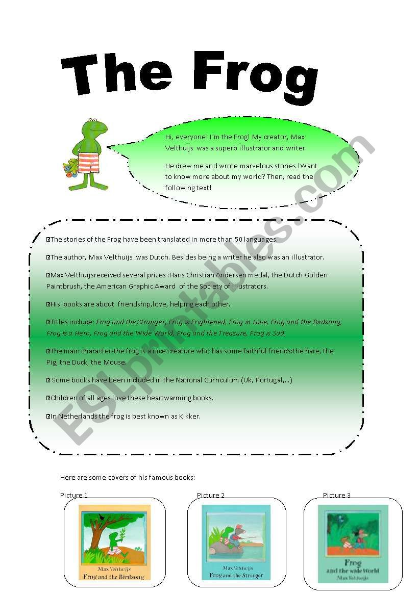The Frog by MaxVelthuijs worksheet