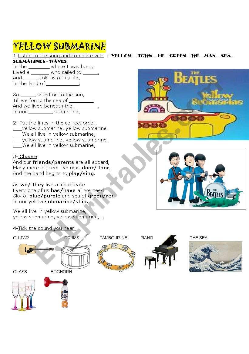 Song Yellow Submarine worksheet