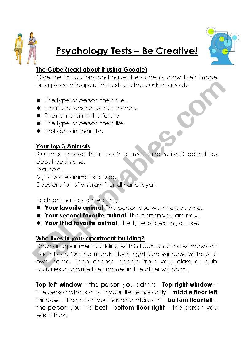 Fun Personality and Psychology Tests for Students - ESL worksheet by