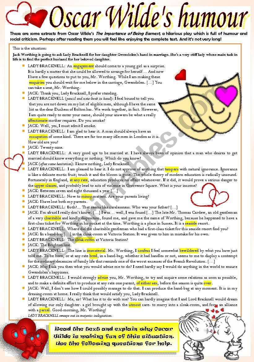 HUMOROUS READING worksheet