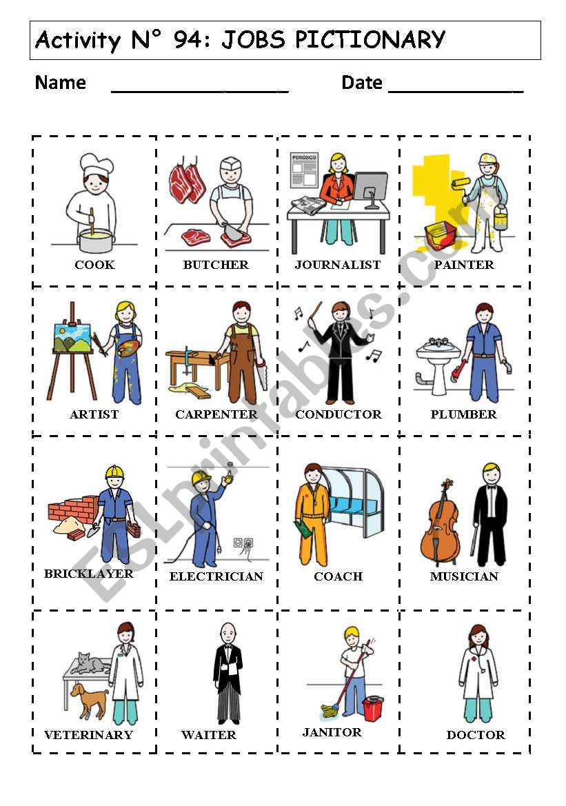 People Occupations Jobs And Community At: ESL Worksheet By Andresdomingo