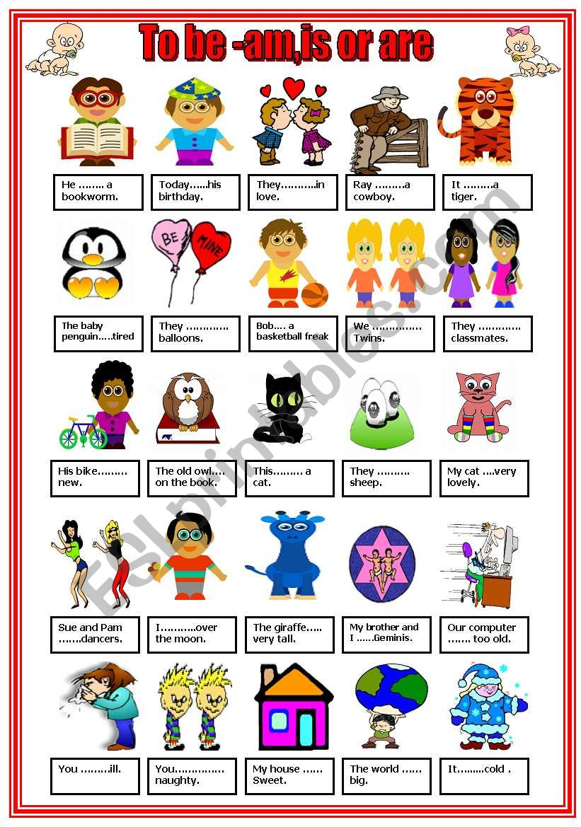 Verb 2 b -am,is or are. worksheet