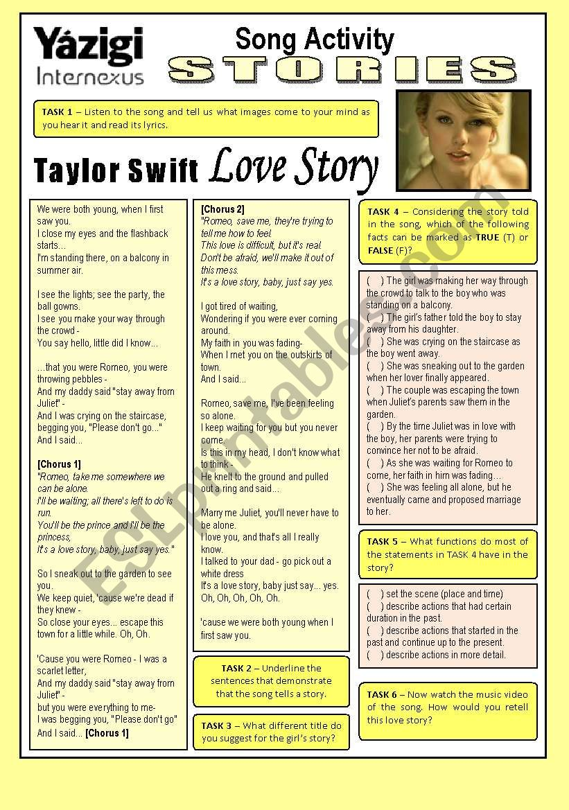 Song Activity - LOVE STORY (By Taylor Swift) - Stories/Preparation for the Study of Past Continuous