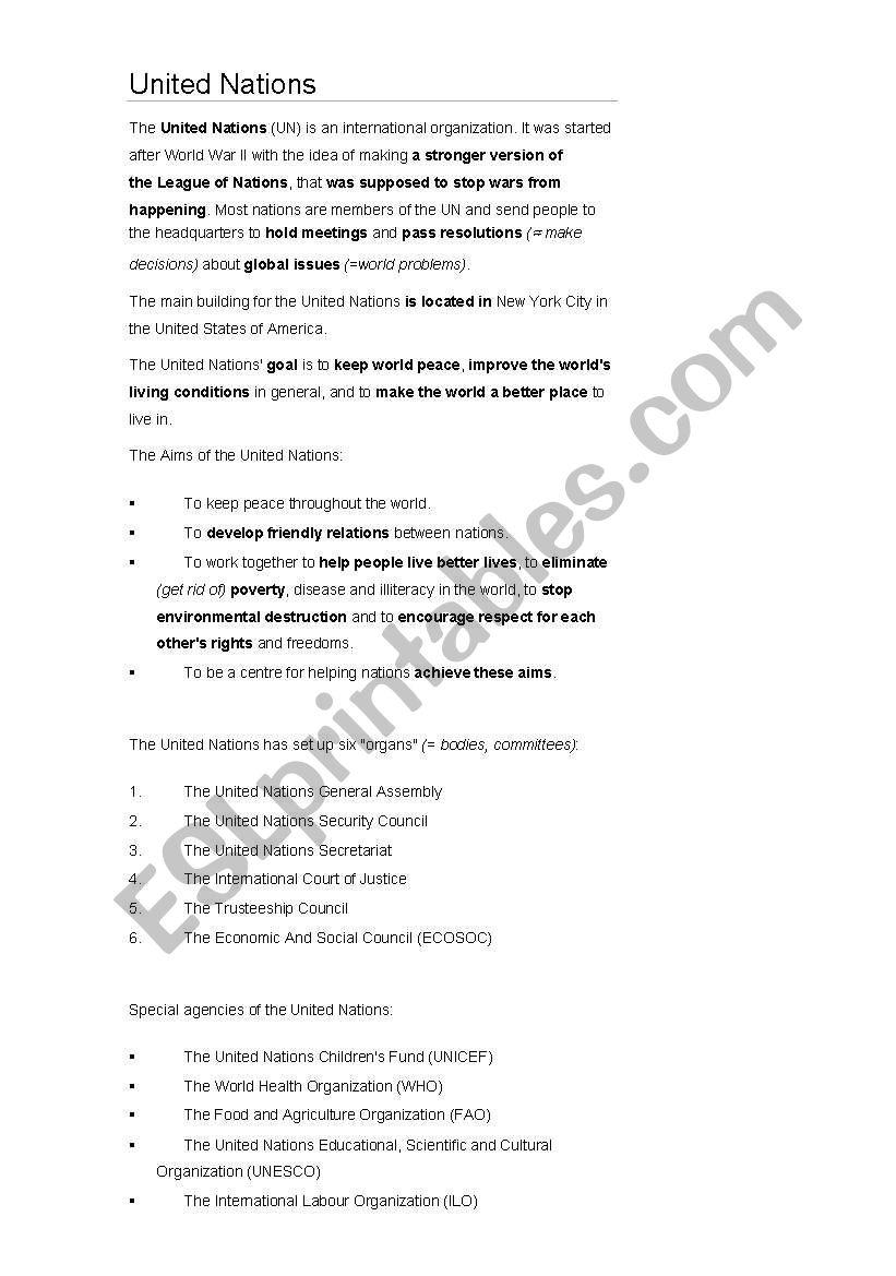 English Worksheets United Nations Work Sheet