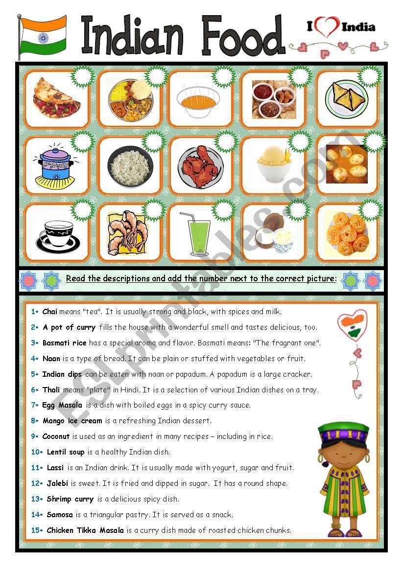 Indian Food worksheet