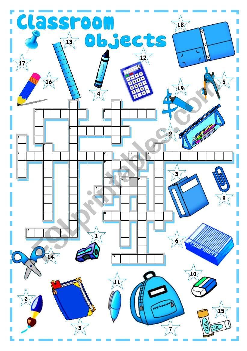 SCHOOL SUPPLIES, CLASSROOM OBJECTS (2) - Crossword