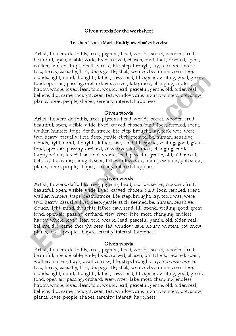 Given words- Worksheet worksheet