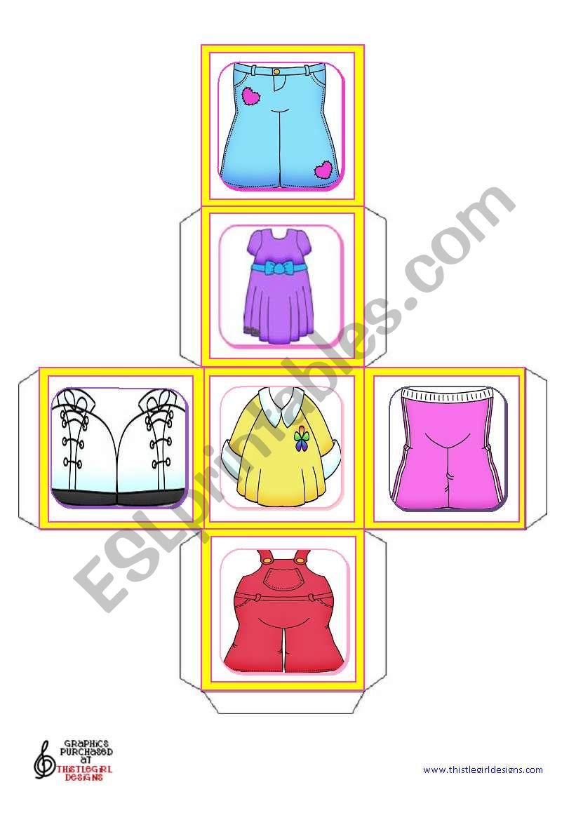 Basic Clothes Dice worksheet