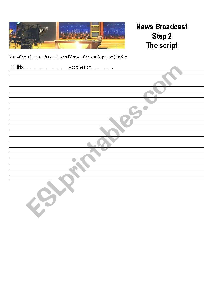 English worksheets: News broadcast - Step Two