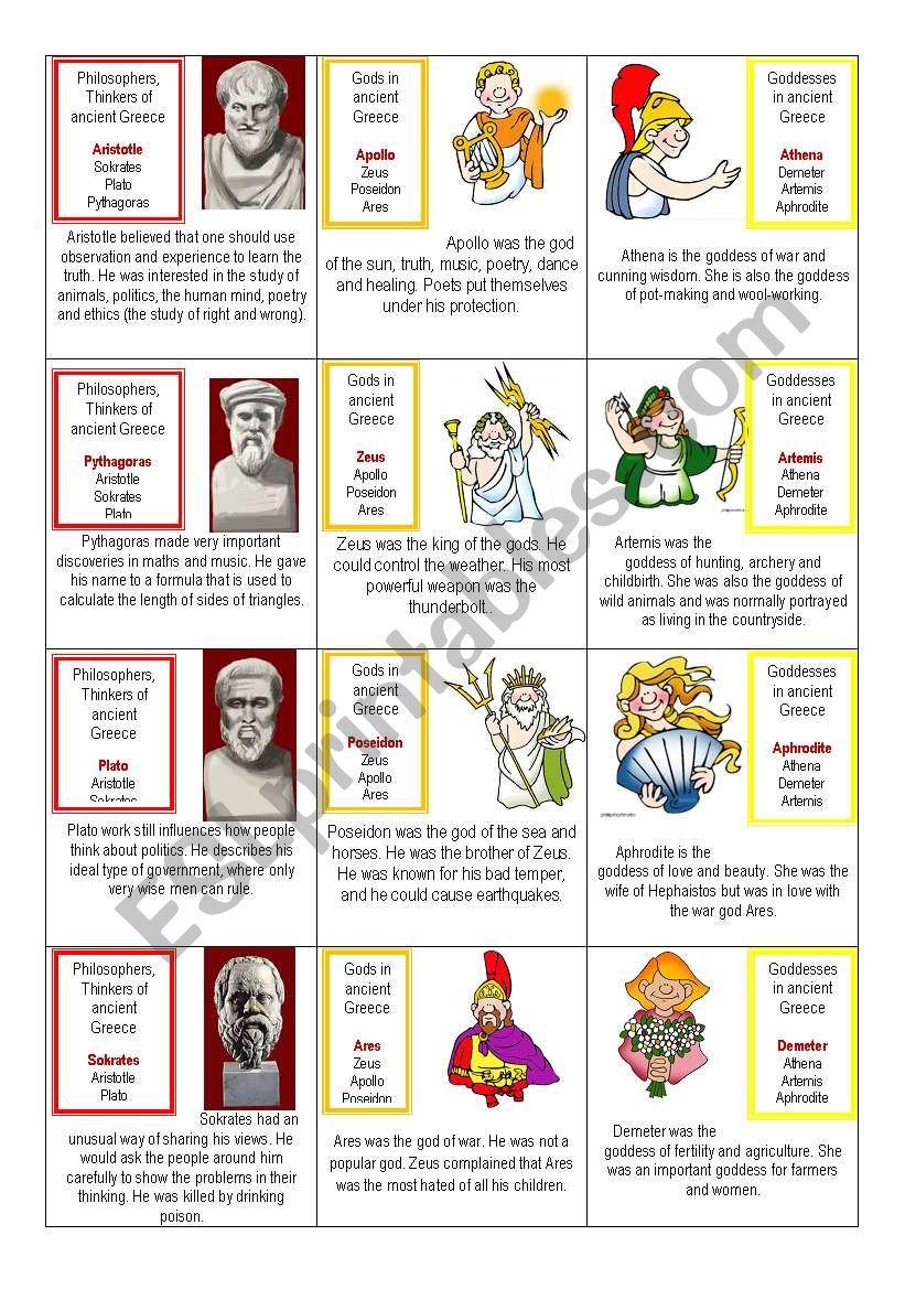 Ancient Greece card game 1/3 worksheet