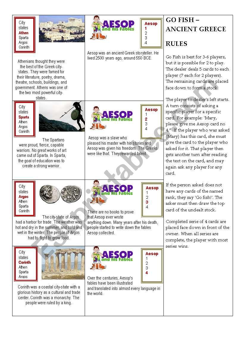 Ancient Greece card game 3/3 worksheet