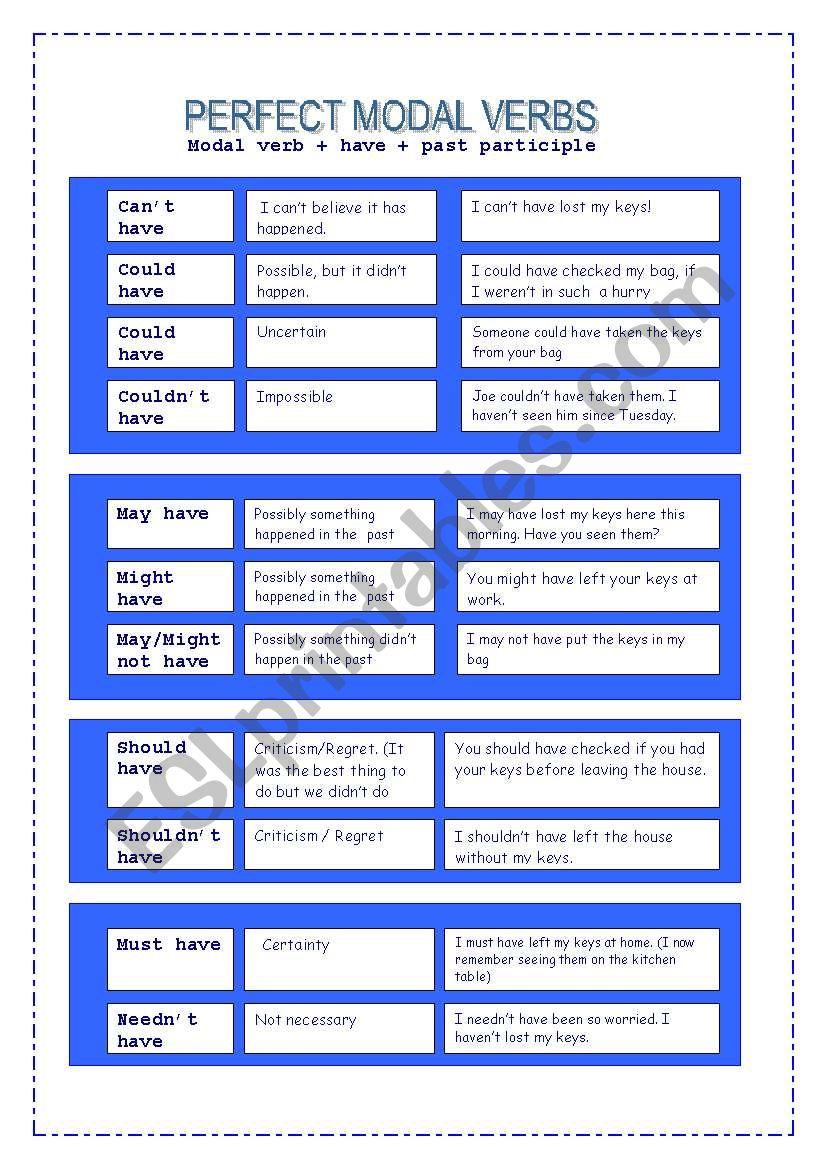 PERFECT MODAL VERBS worksheet