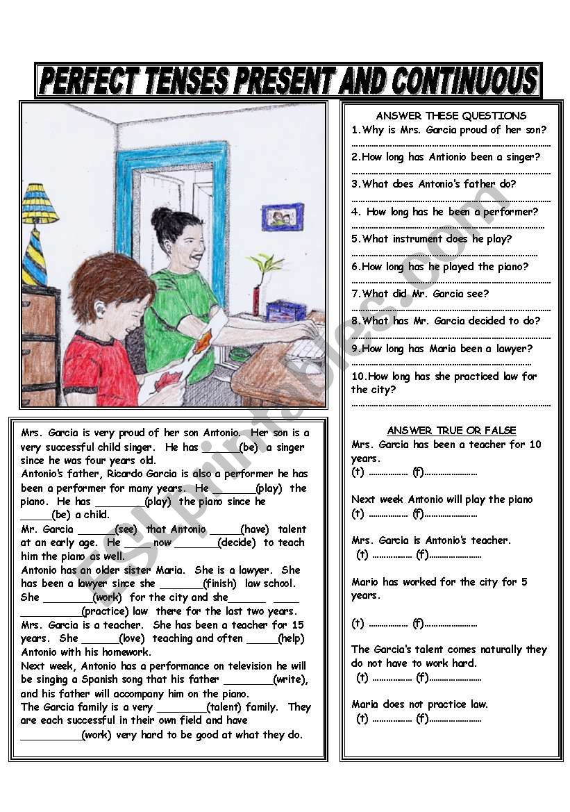 PRESENT PERFECT AND PRESENT PERFECT CONTINUOUS - ESL ...