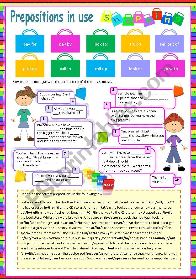 Prepositions in use (1) Shopping (Fully editable)
