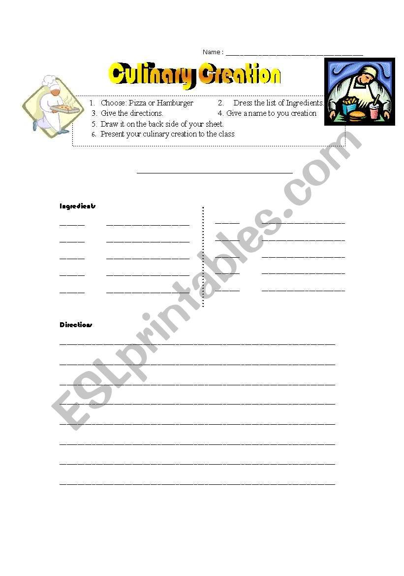 Culinary Creation worksheet