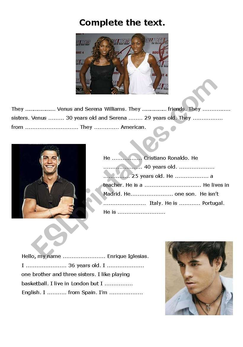 Preview A Text Worksheet : Complete the text about celebrities esl worksheet by rosaper