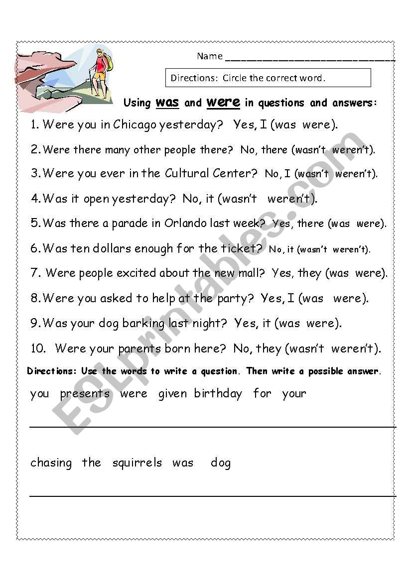 English Worksheets Using Was And Were To Ask And Answer Questions