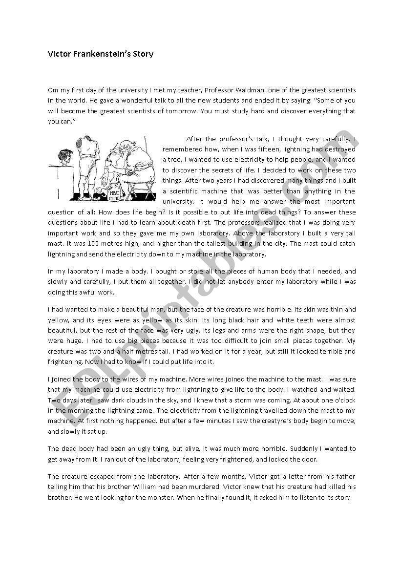 Victor frankenstein reading comprehension esl worksheet by kirstiky victor frankenstein reading comprehension ibookread PDF