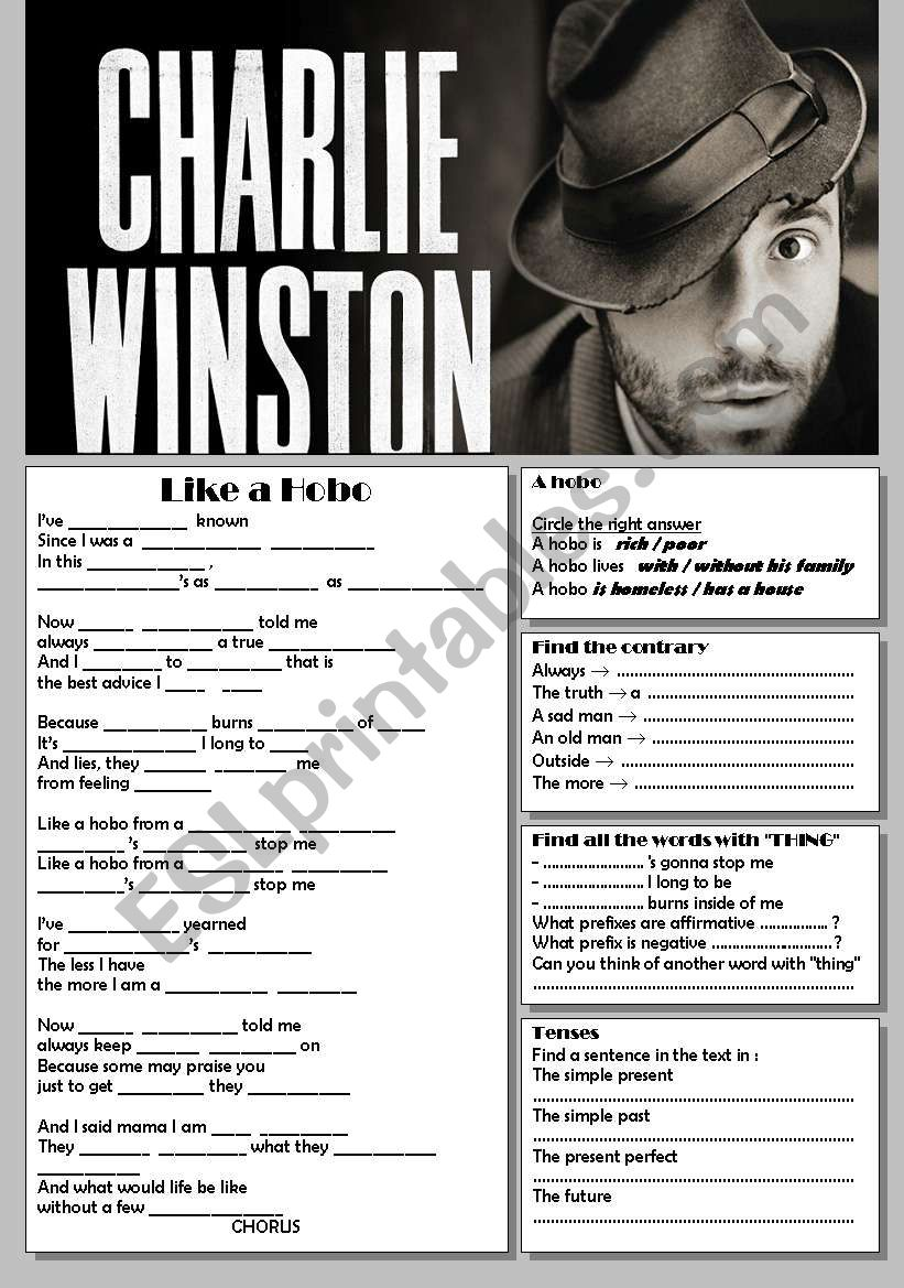 Charlie Winston, Like a Hobo worksheet