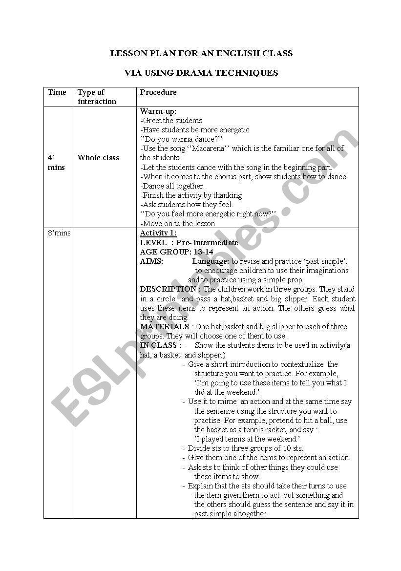 drama lesson plan worksheet