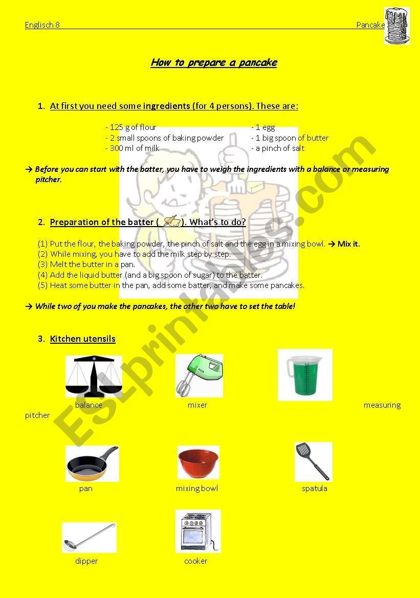 How to prepare a pancake worksheet