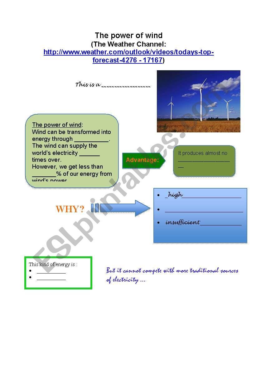 Wind power - ESL worksheet by Magnete