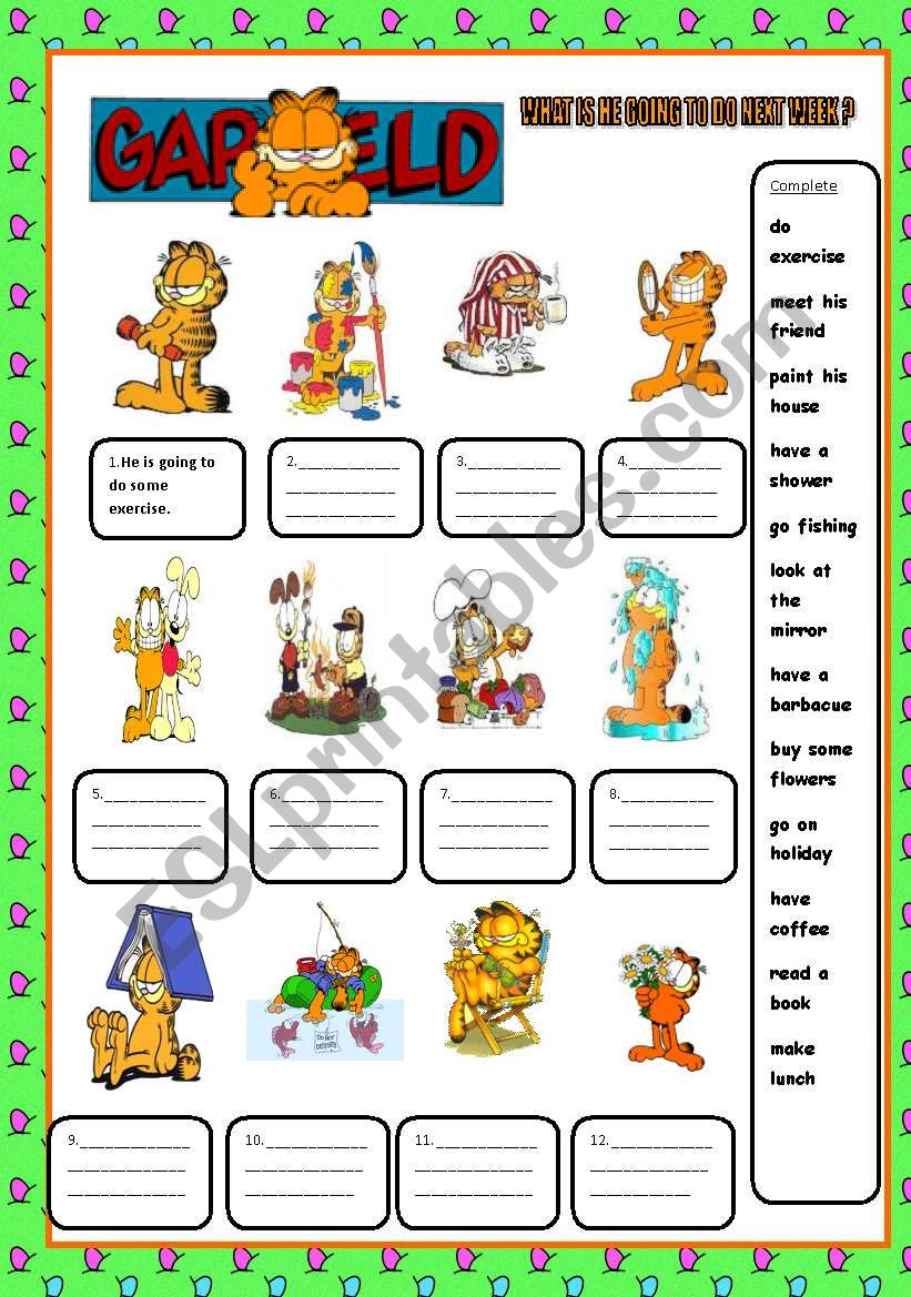 What Is Garfield Going To Do Key Included Esl Worksheet By Bermudenze