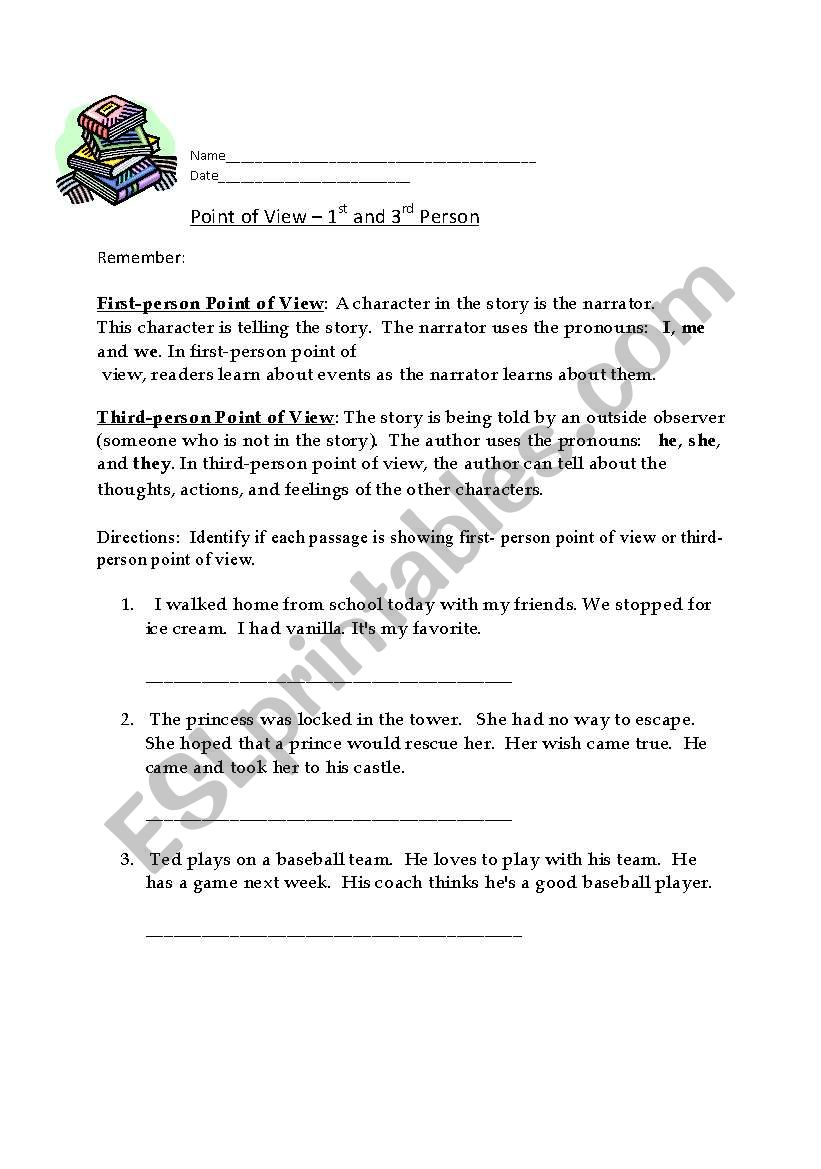 English Worksheets First Person And Third Person Point Of