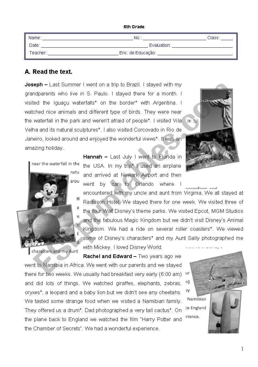 Worksheet - 3rd term - 6th grade