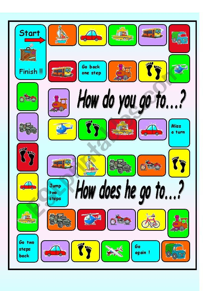 asking and answering questions  about Transportation board game