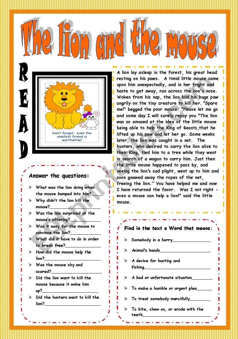 The Lion and the mouse.(3 PAGES)Reading.Answer the questions+ Meaning of words+label the adjectives+wordsearch+writing a letter+key