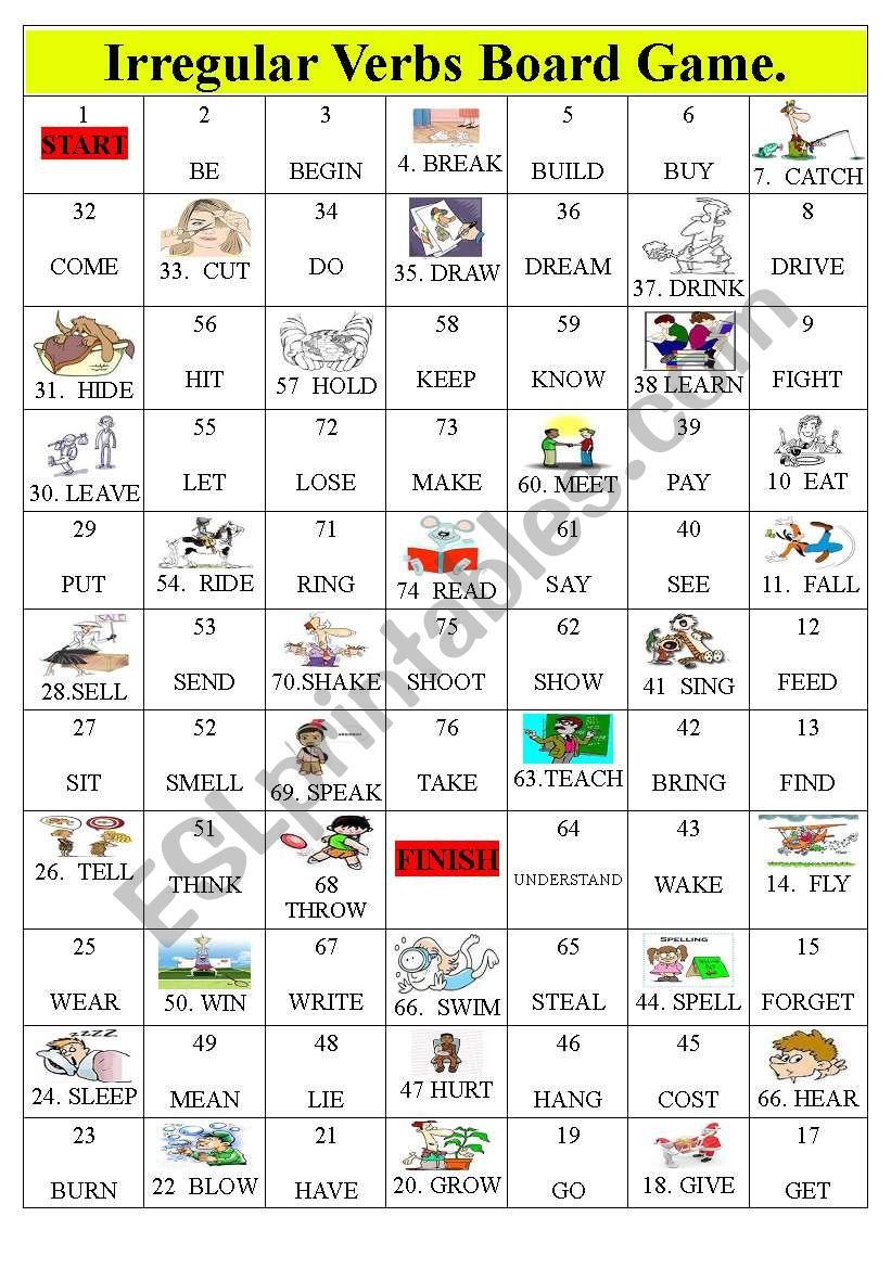 Irregular Verbs Board Game worksheet