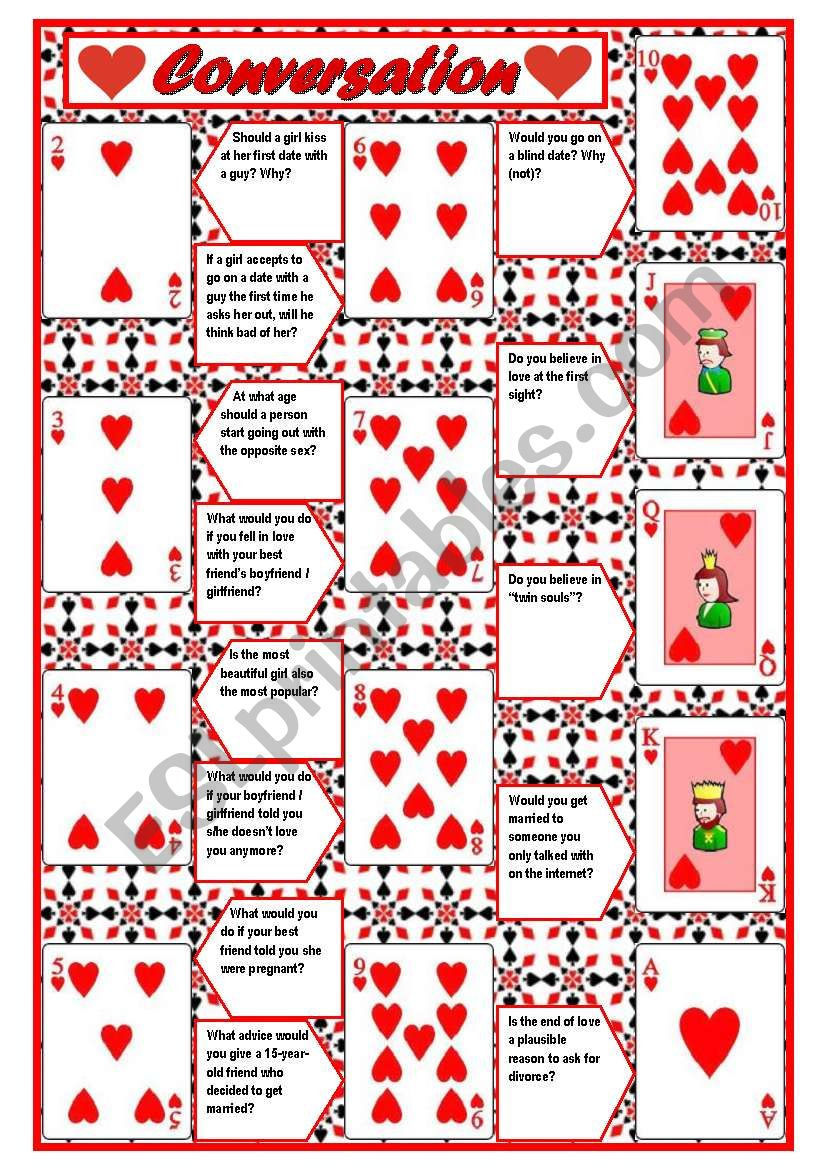 Playing cards + conversation (game) – 4 pages with questions