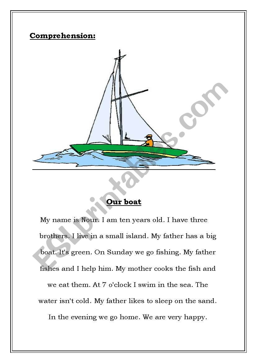 Our Boat worksheet