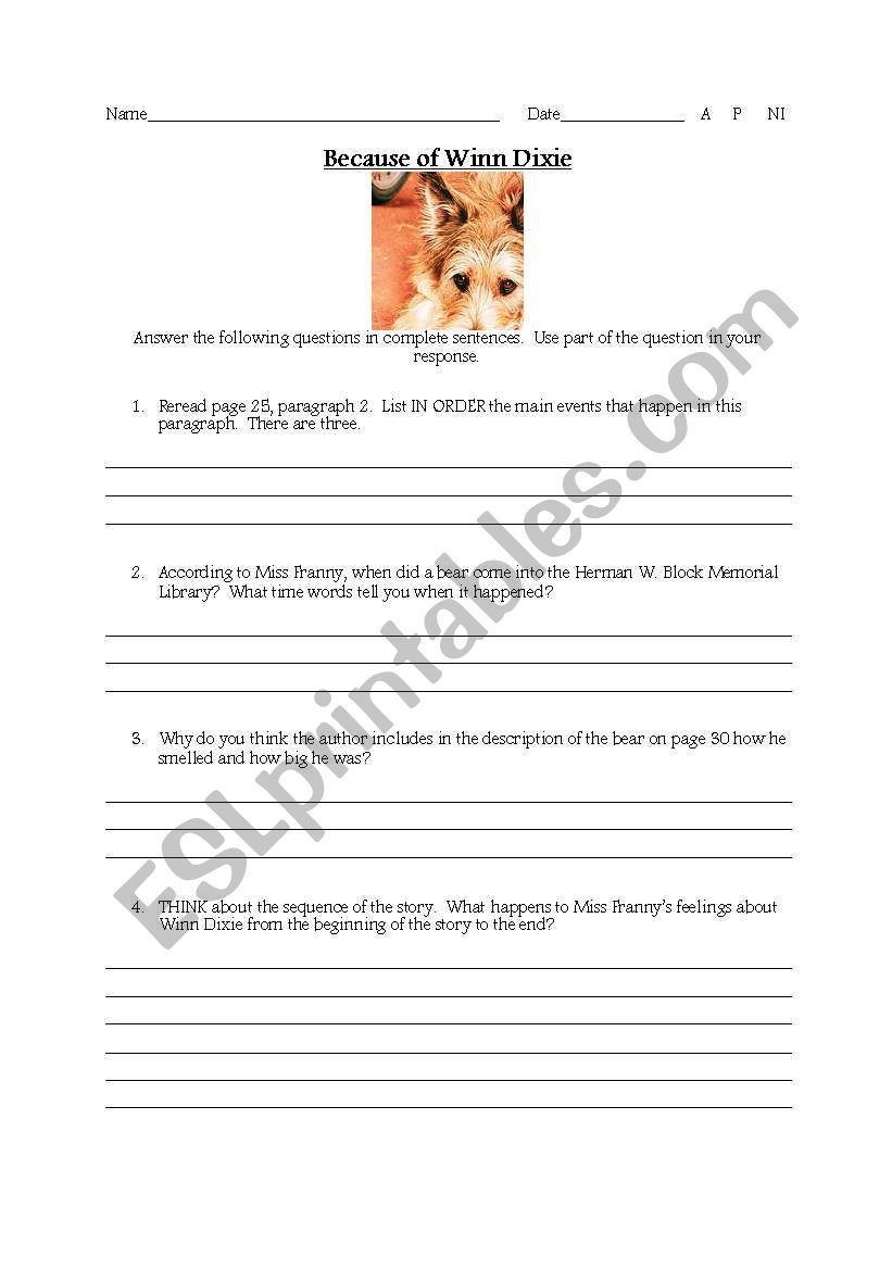 English Worksheets Winn Dixie Comprehension Questions