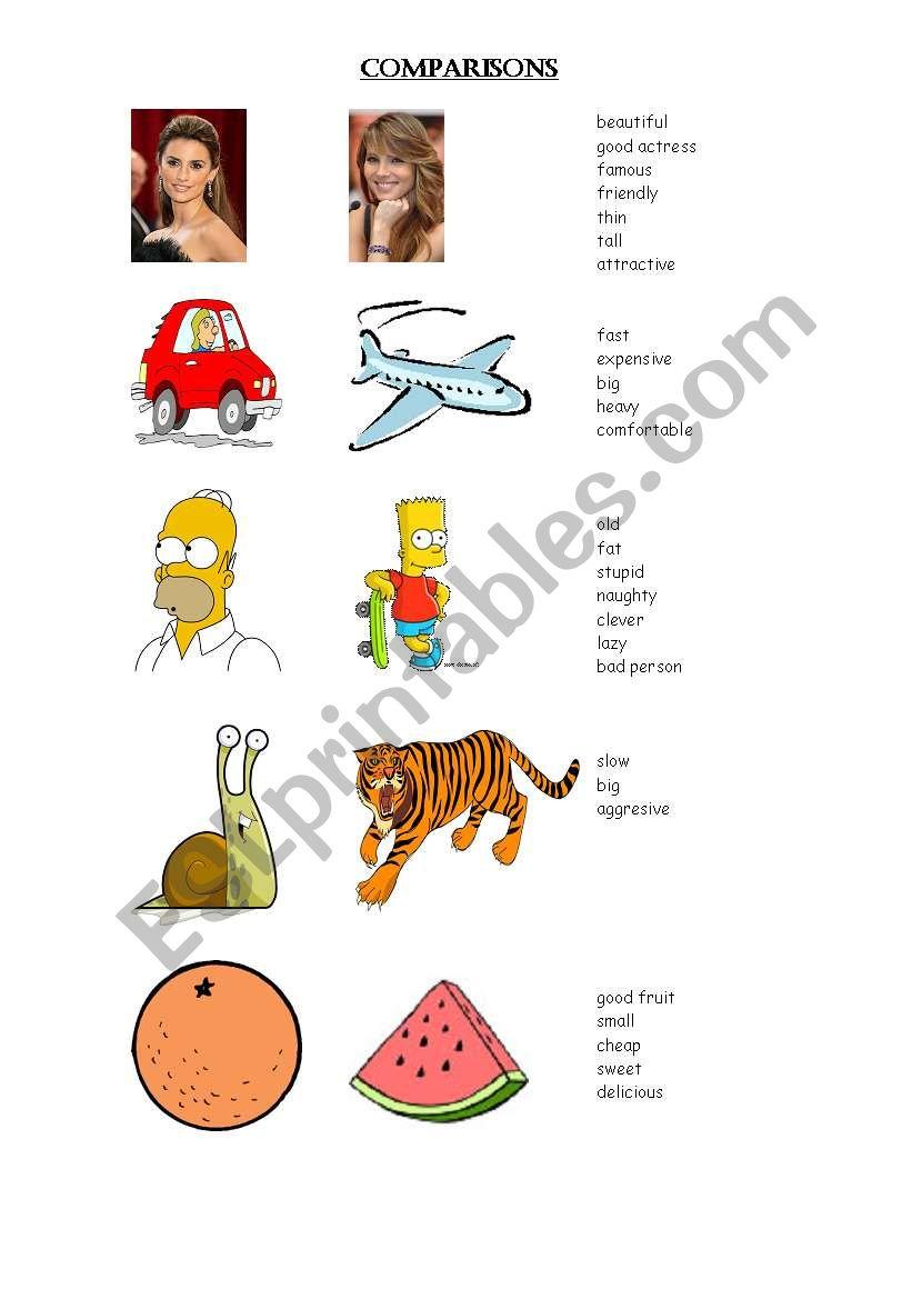 comparisons worksheet