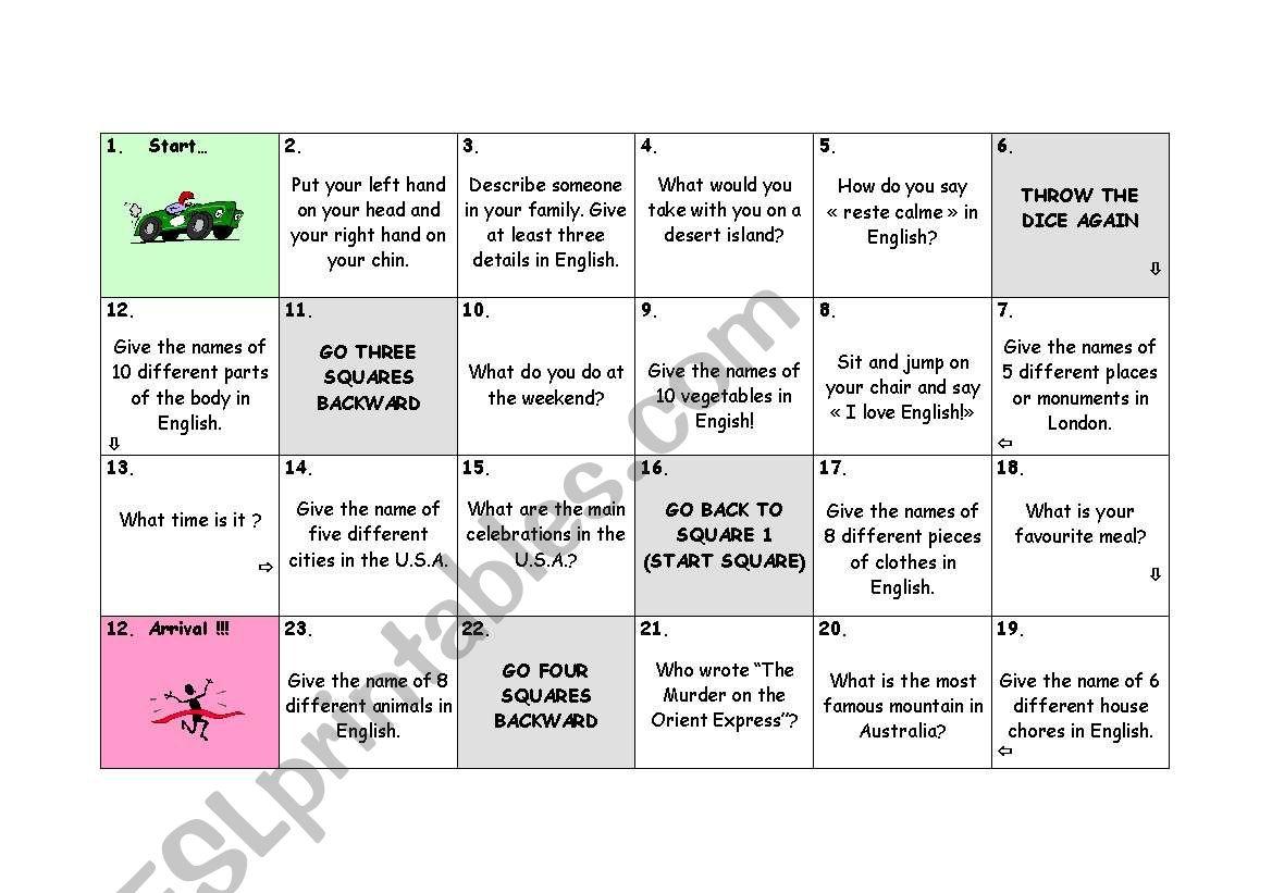 Speaking game worksheet