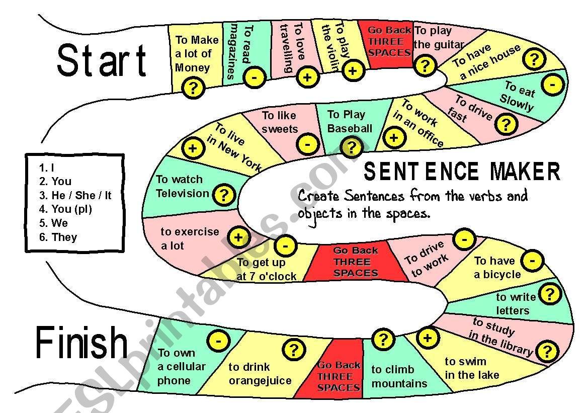 Sentence maker Boardgame - ESL worksheet by econsadori