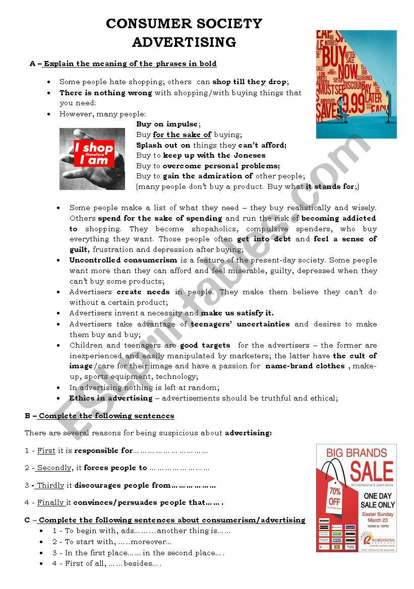 Advertising/ Consumerism worksheet