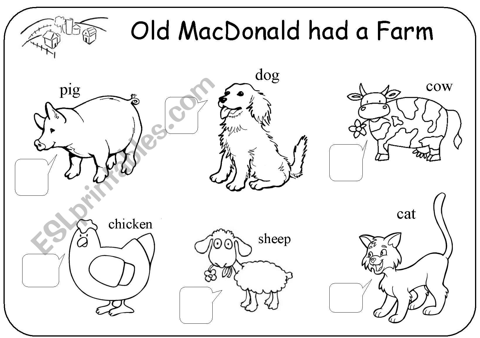 Old MacDonald Had A Farm Worksheet