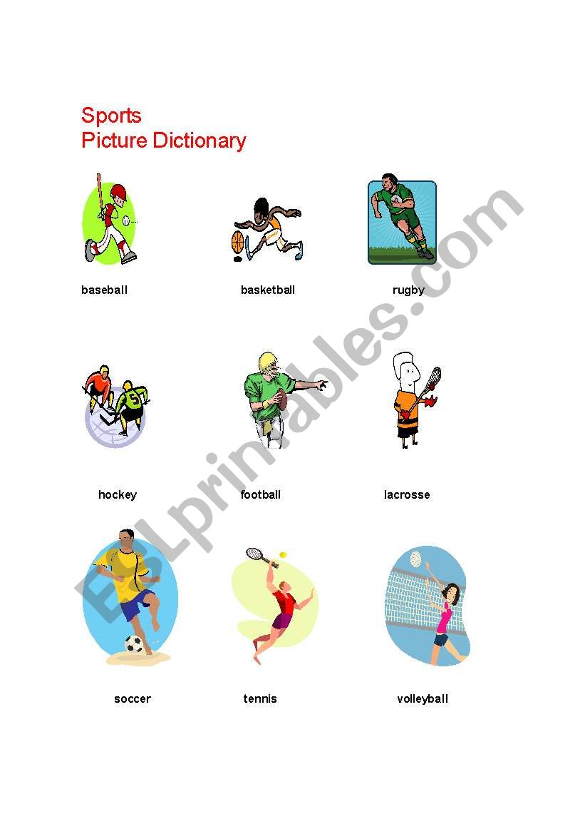 Team Sports Picture Dictionary + Activities