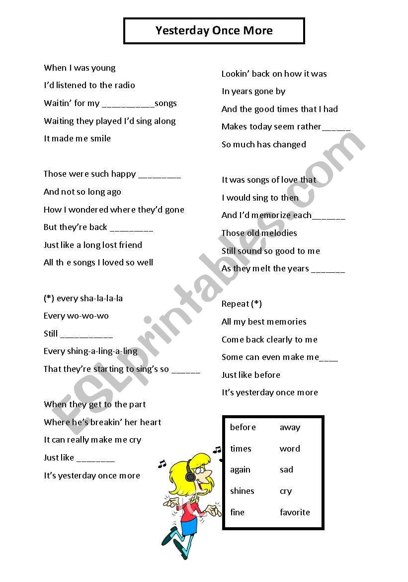 English Worksheets Learning English Through Song