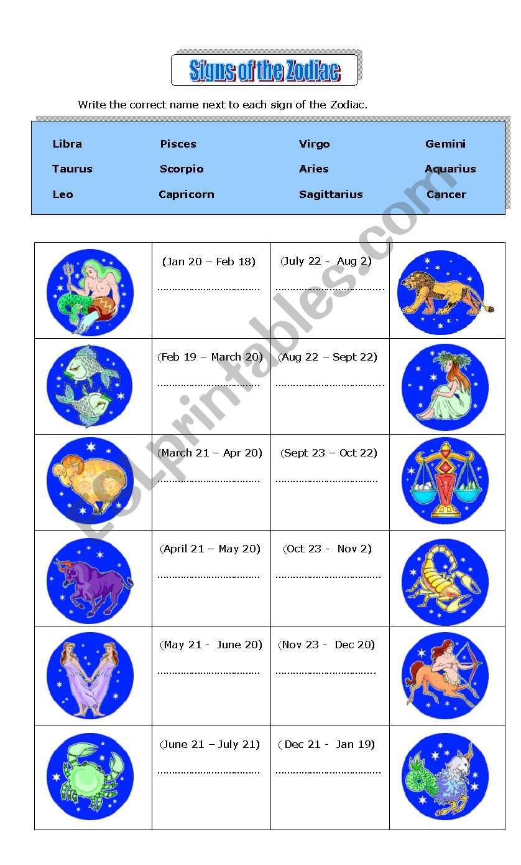 Zodiac Signs - ESL worksheet by zhlebor
