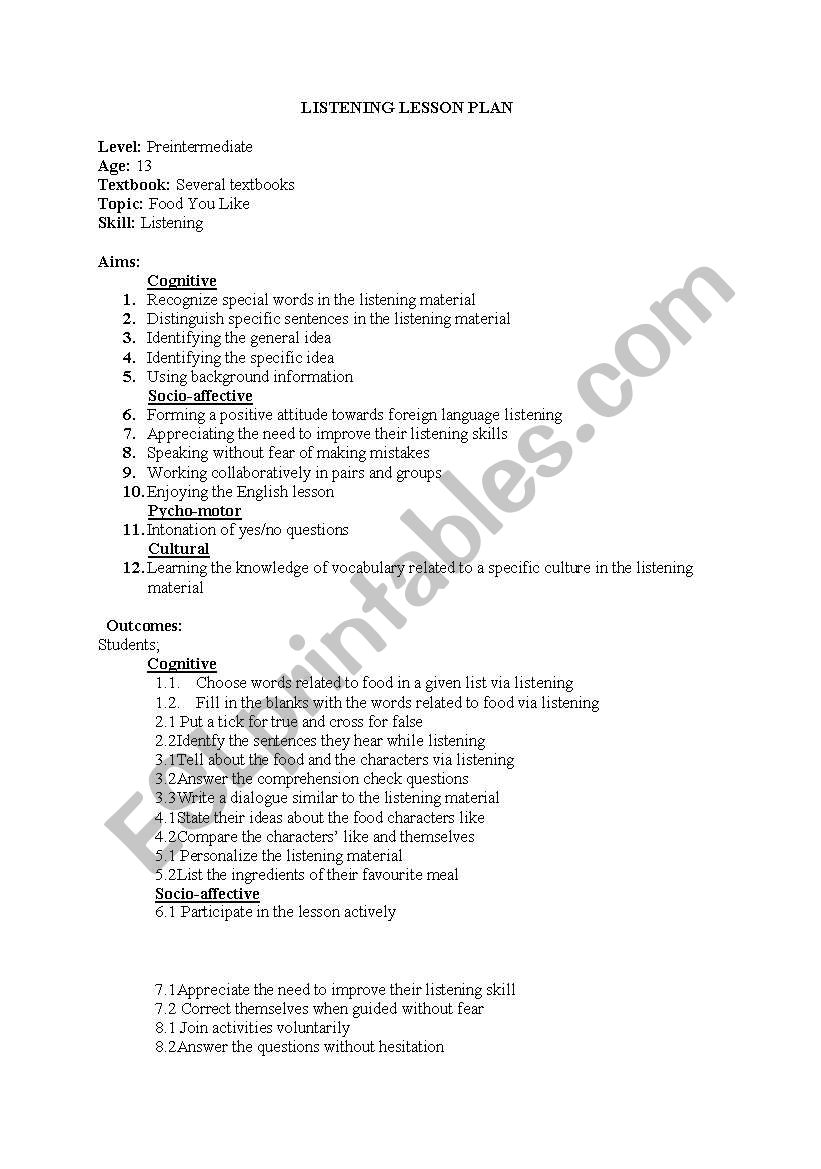 listening lesson plan worksheet