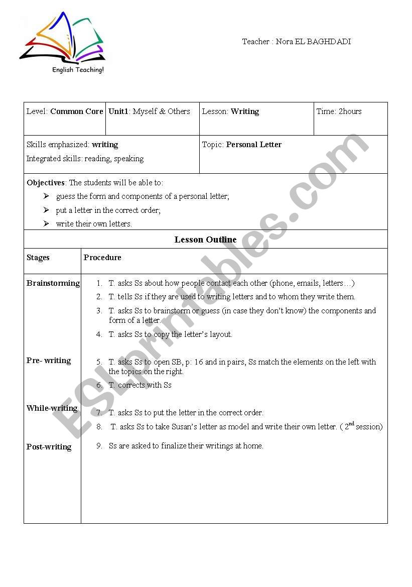 Writing A Personal Letter from www.eslprintables.com