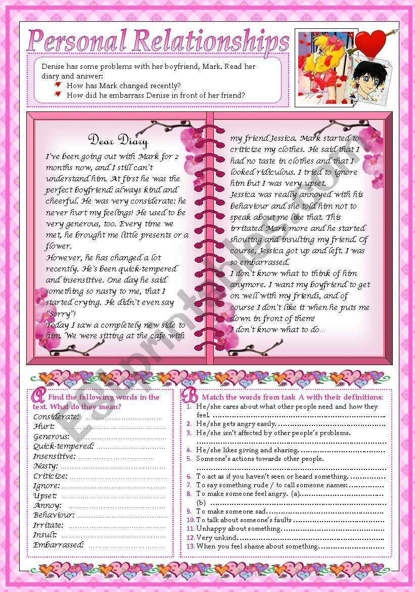 Dear Diary... (2 pages+key) worksheet