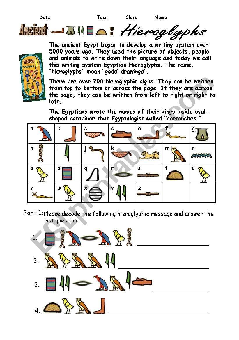 Egypt Hieroglyphs - ESL worksheet by shellytkhr