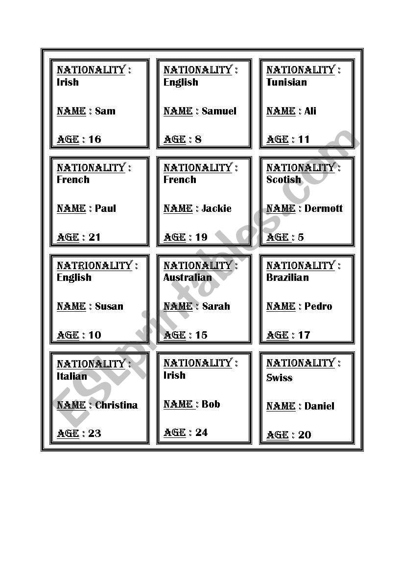 identity cards worksheet