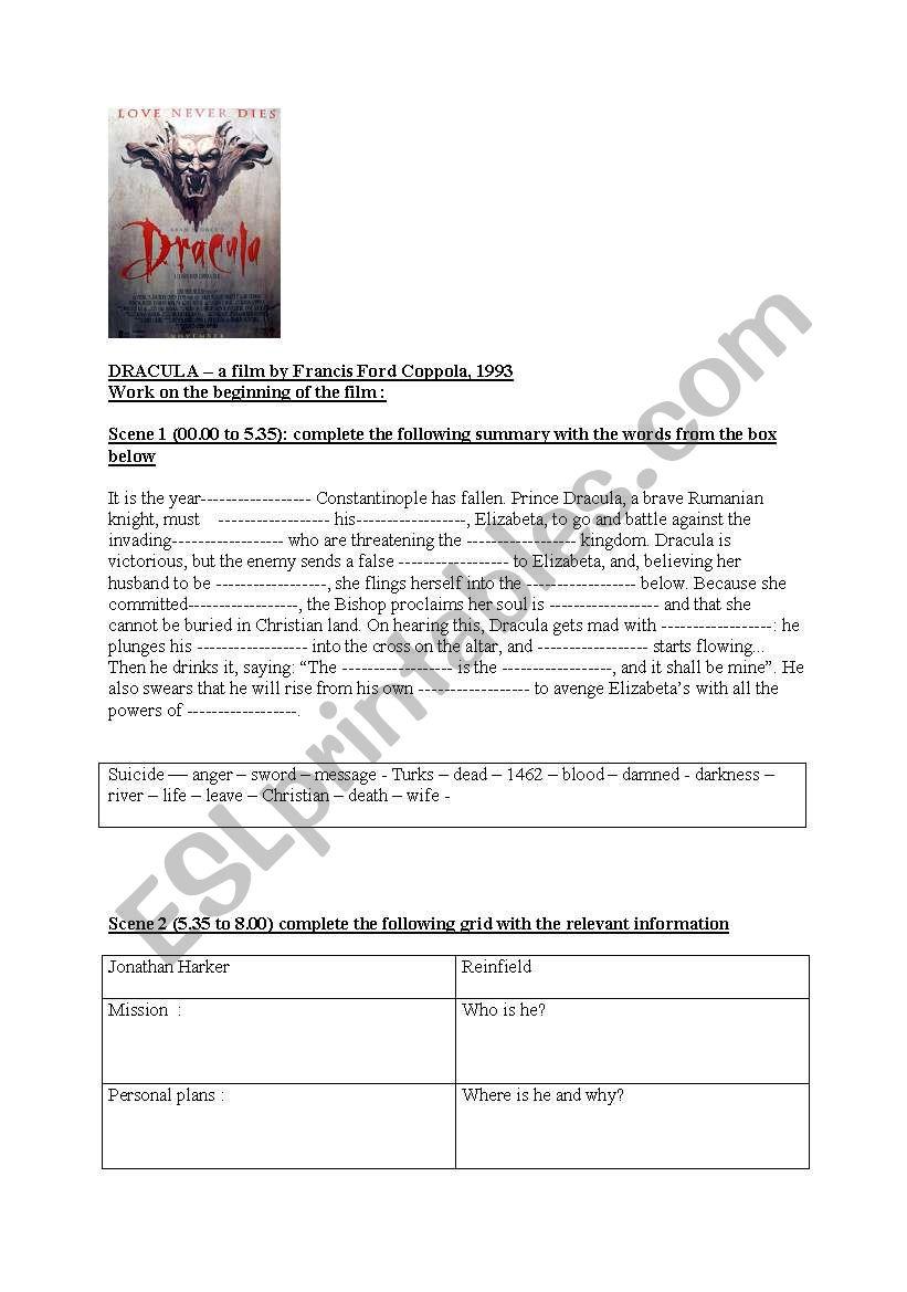 Dracula.  worksheet
